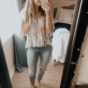 Abercrombie Paisley Lace Up Bell Sleeve Blouse